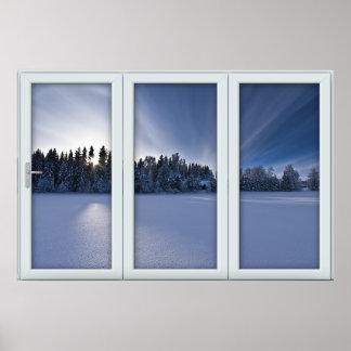 White 3 Pane Window Illusion Winter Scene Poster