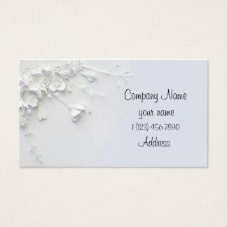 White 3D simple flower designed Business Card