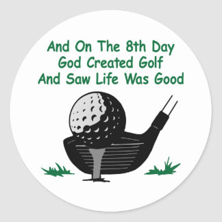 White 8Th Day Created Golf Round Sticker