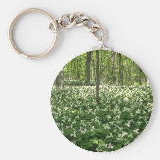 white A field of trilliums Niagara Falls flowers Keychain