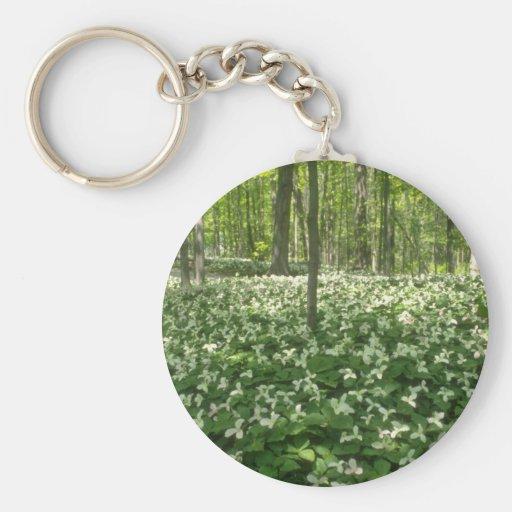 white A field of trilliums, Niagara Falls flowers Keychain