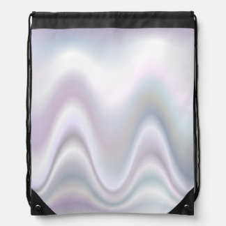 White abstract wave design drawstring backpack