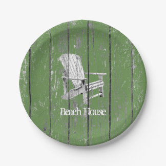 White Adirondack Chair Your Text Background Color Paper Plate