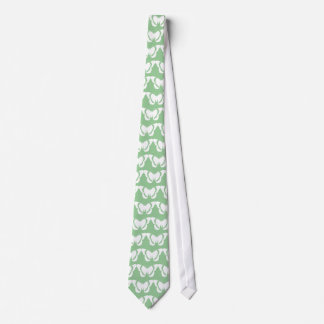 White Admiral Butterfly Pattern Green Tie