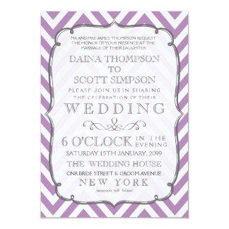 White & African Violet Chevron Stripes Wedding 13 Cm X 18 Cm Invitation Card