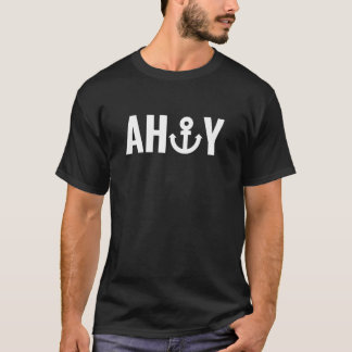 White Ahoy with anchor T-Shirt