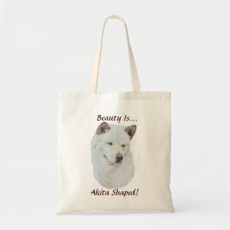 White akita realist dog portrait art