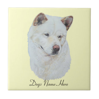 White akita realist dog portrait art design tile