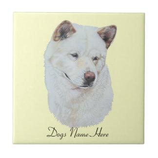 White akita realist dog portrait art small square tile