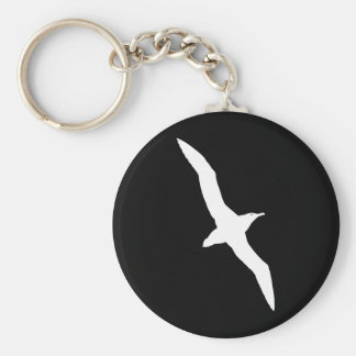 White Albatross Bird In Flight Basic Round Button Key Ring