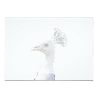 White albino peacock head cutout 13 cm x 18 cm invitation card