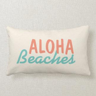 White Aloha Beaches Throw Pillow
