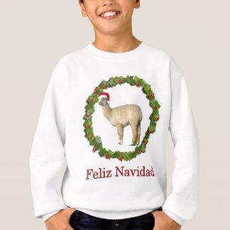 White Alpaca Feliz Navidad Wreath Sweatshirt