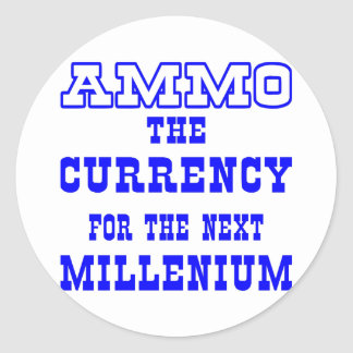 White Ammo Currency Next Millenium Round Sticker