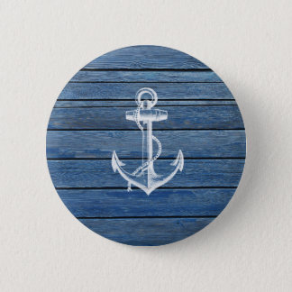 White Anchor And Vintage Blue Wood 6 Cm Round Badge
