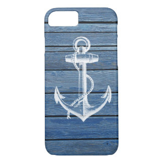 White Anchor And Vintage Blue Wood iPhone 7 Case