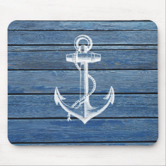 White Anchor And Vintage Blue Wood Mouse Mat