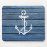 White Anchor And Vintage Blue Wood Mouse Mats