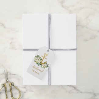 White Anchor in Love Floral Nautical Cruise Favour Gift Tags
