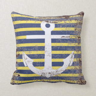 White anchor in striped background simulating aged cushion