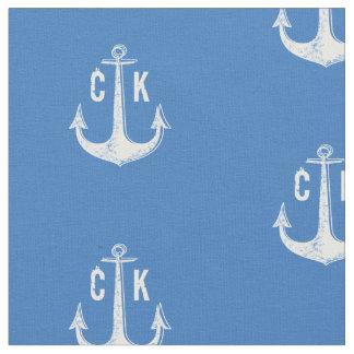 White anchor nautical monogram fabric