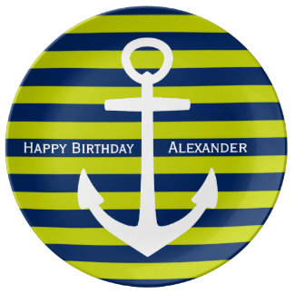 White Anchor on Navy and Lime Happy Birthday Plate
