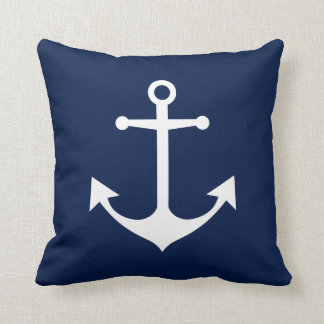 White Anchor on Navy Blue Nautical Pillow