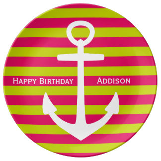 White Anchor on Pink and Lime Happy Birthday Plate