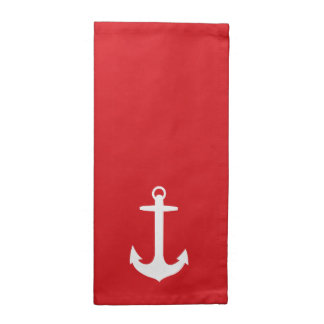 White Anchor on Red Cloth Napkins