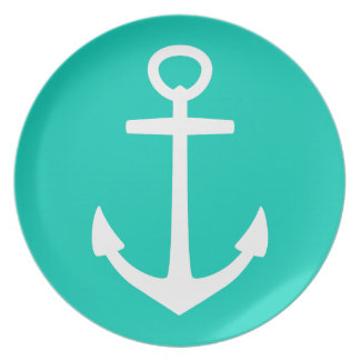 White Anchor on Tropical Island Sea Plate
