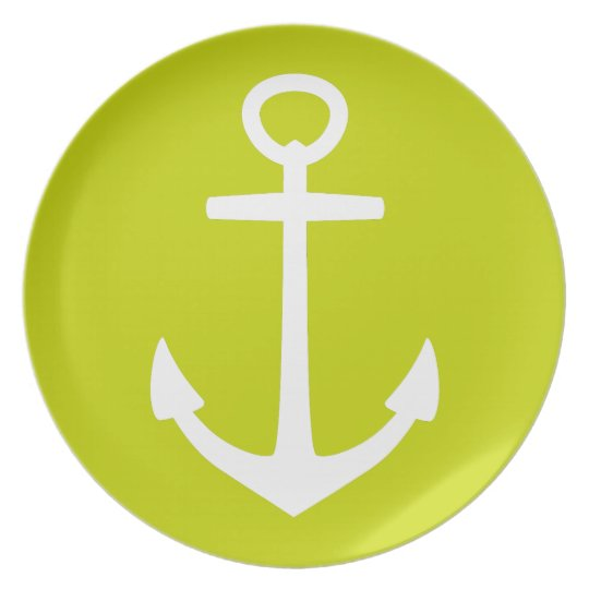 White Anchor on Tropical Lime Green Plate