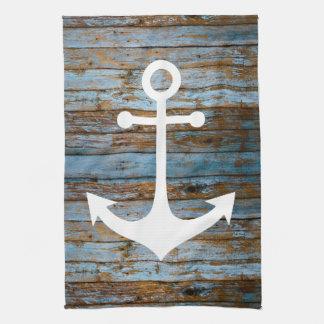 white anchor on wood tea towel