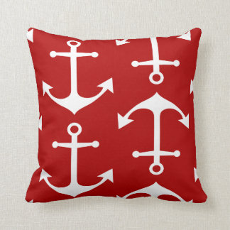 White Anchor Pattern on Nautical Red Throw Pillow