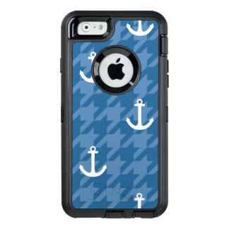 White Anchor Pattern OtterBox Defender iPhone Case