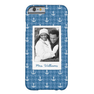 White Anchor Pattern | Your Photo & Name Barely There iPhone 6 Case