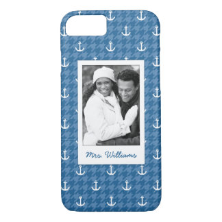 White Anchor Pattern | Your Photo & Name iPhone 8/7 Case