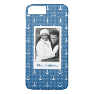 White Anchor Pattern | Your Photo & Name iPhone 8 Plus/7 Plus Case