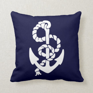 White Anchor Red And Blue Background (both sides) Cushion