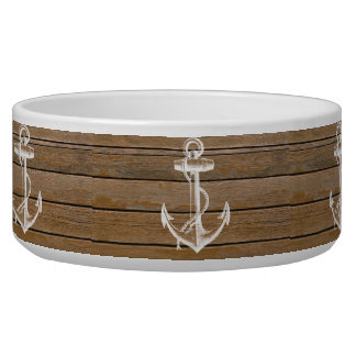 White anchor vintage rustic brown wood pet water bowl