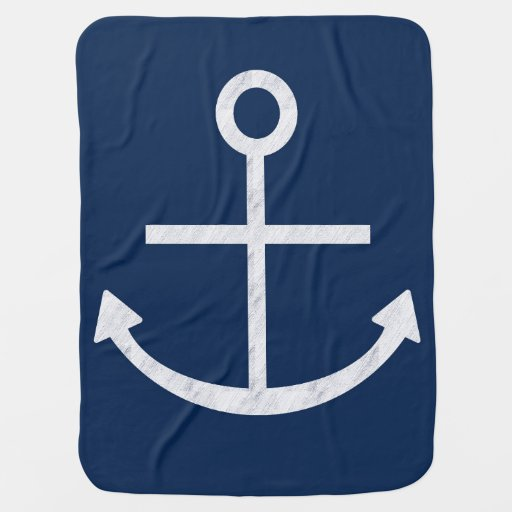 White Anchor Swaddle Blankets