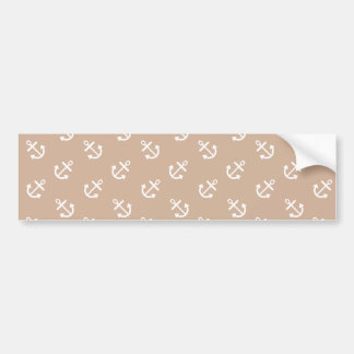 White Anchors Almond Background Pattern Bumper Sticker
