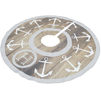 White Anchors and Rope Nautical Lgt. Wood Monogram Brushed Polyester Tree Skirt