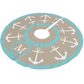 White Anchors and Teal Rope Nautical Monogram Brushed Polyester Tree Skirt