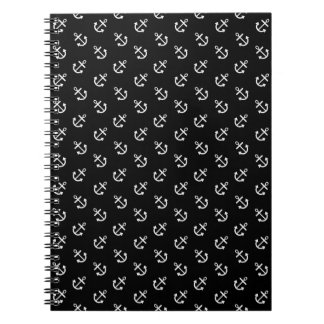 White Anchors Black Background Pattern Notebooks