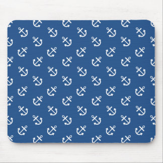 White Anchors Classic Blue Background Pattern Mouse Pad