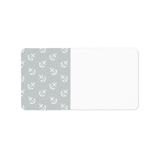 White Anchors Glacier Grey Background Pattern Address Label