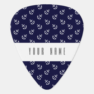 White Anchors Navy Blue Background Pattern Guitar Pick