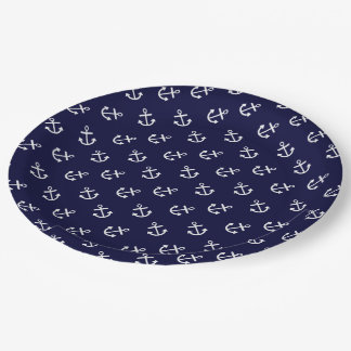 White Anchors Navy Blue Background Pattern Paper Plate