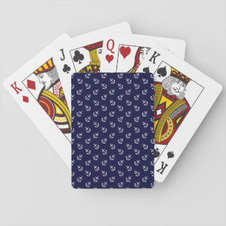 White Anchors Navy Blue Background Pattern Playing Cards