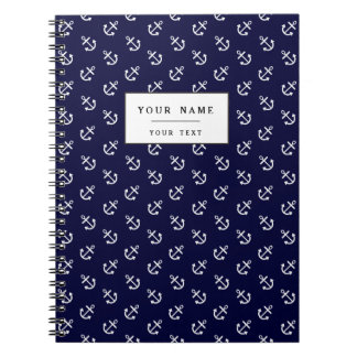 White Anchors Navy Blue Background Pattern Spiral Notebooks